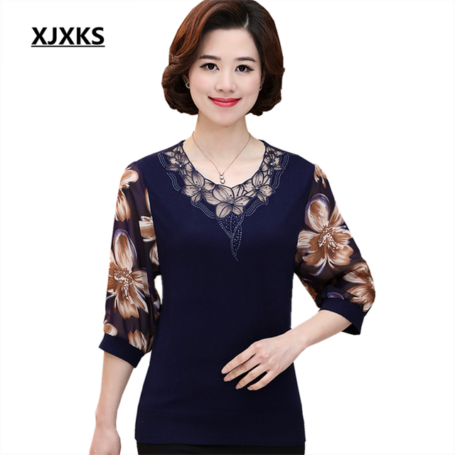 XJXKS 2017 Spring And Summer Women s Clothing Chiffon Shirt New Seven point  Shirt Sweater Loose Large Size Knitted Blouse-in Blouses   Shirts from ... 4f1d3dbcb