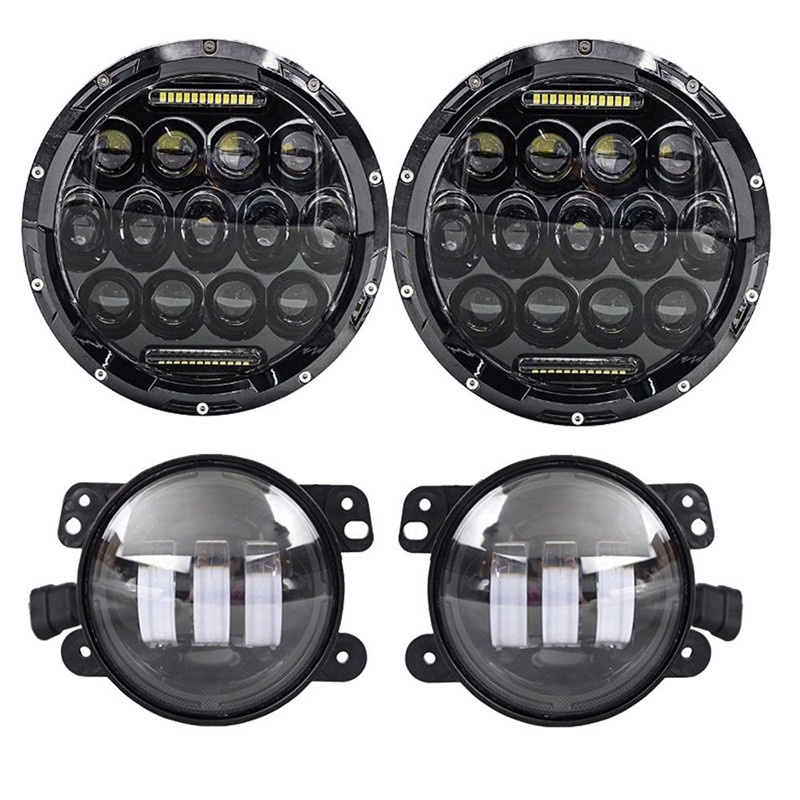 7 Inch LED Headlights with White DRL + 4INCH LED Auxiliary fog lamps for Jeep Wrangler Front light Kit 97-16 JK TJ LJ
