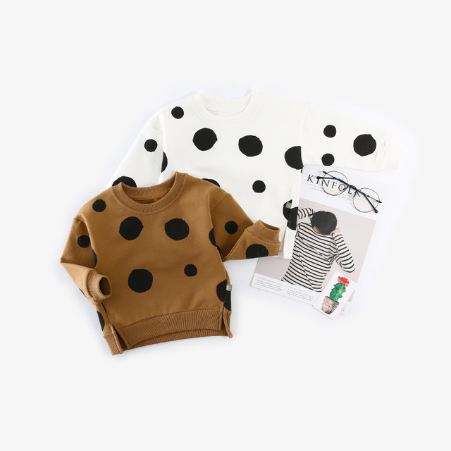 Sweatshirt Toddler Hoody Polka-Dot Baby-Girls Kids Casual Pullovers Boy Coat Outerwear