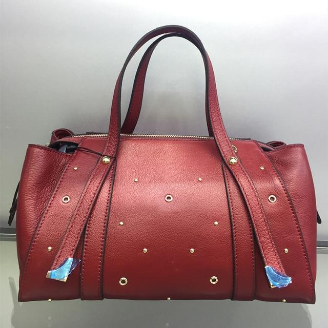 Sheng Lun Lai 100 Genuine Leather Handbags Rivet Real Cow Shoulder Bags Women Large