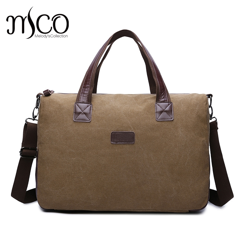 MCO Canvas Leather Men Travel Bags Carry on Luggage Bags Men Duffel Bags Travel Tote Large Weekend Overnight Bag