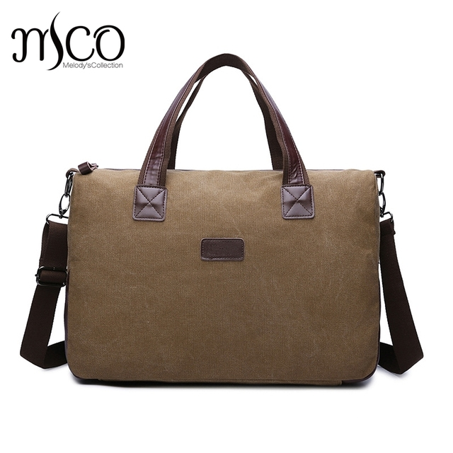 d708ada792 MCO Canvas Leather Men Travel Bags Carry on Luggage Bags Men Duffel Bags  Travel Tote Large