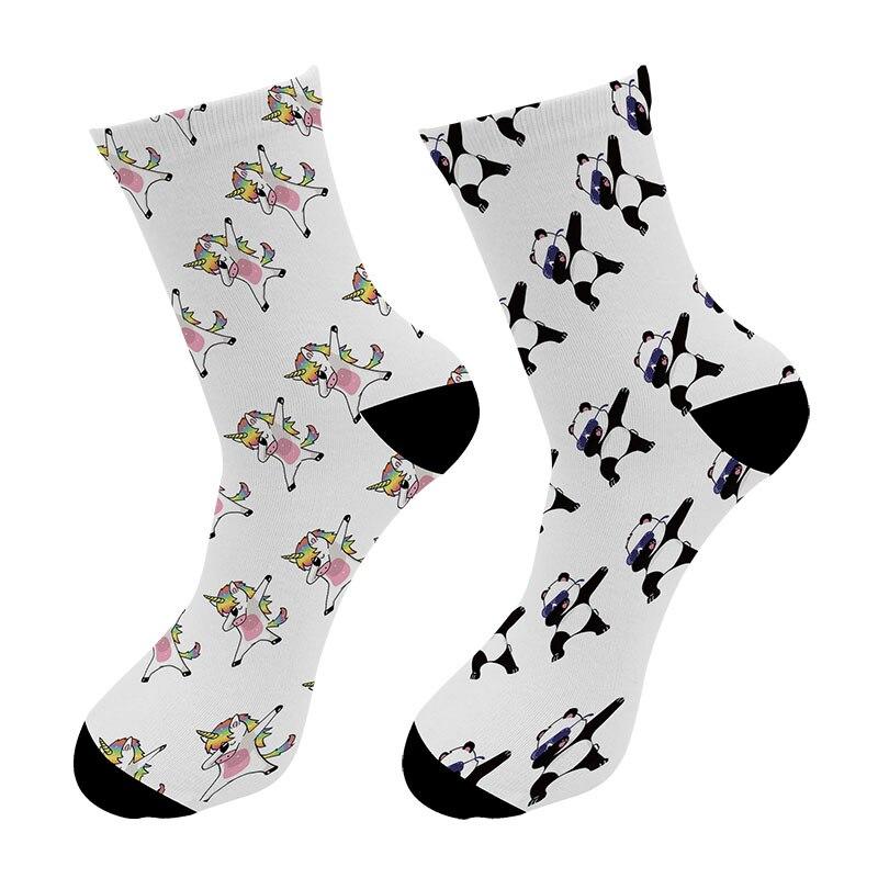 New 3D Printed Unicorn Panda Swag Crew   Socks   Men Zebra Cat Dog Long   Socks   Animal Rabbit Men's Dress Tube   Socks   Dropshipping