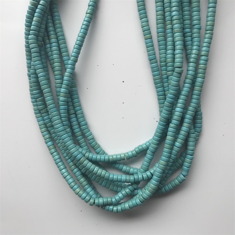 Azul Blue Square Cut Natural Shell Heishi Beads 8mm Chips 25 Inch Strand