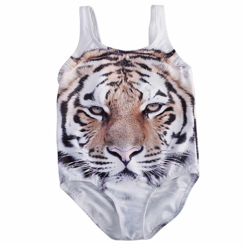 a1130d1f76857 2017 Kids Girls One-Piece Suits Tiger Print Beachwear Swimwear Swimsuit  Bathing Suit Toddler Kid