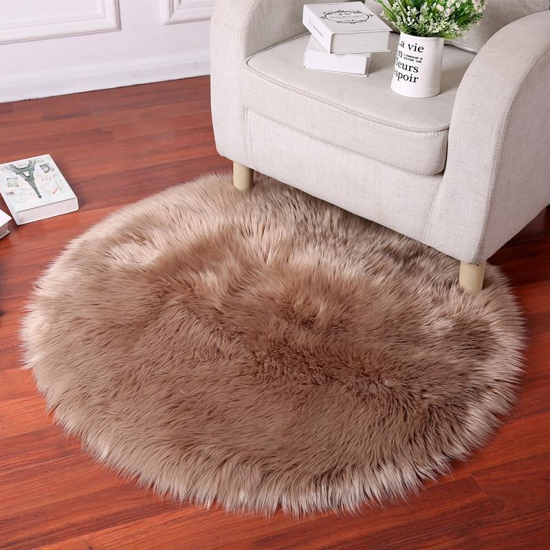 Round Luxury Sheepskin Hairy Carpet Faux Mat Seat Pad Fur