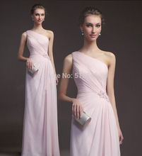 цена на 2014 Elegant Chiffon Evening Dresses Sheath One Shoulder Pleats Beads Floor Length Cheap Women Gown yk1A158