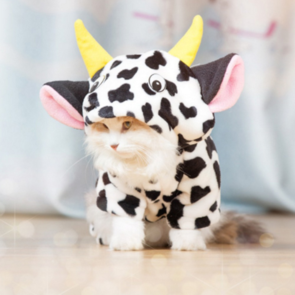 New 2019 Pet Dog Cat Warm Coat Cow Costume Hoody Apparel Pullover Winter Clothes Cat Clothes Jumpsuits Cow shipping pet clothes soccer balls size 4