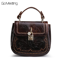 Oil Wax Cowhide 100 Genuine Embossed Leather Women Small Tote Handbag Retro Messenger Cross Body Bag