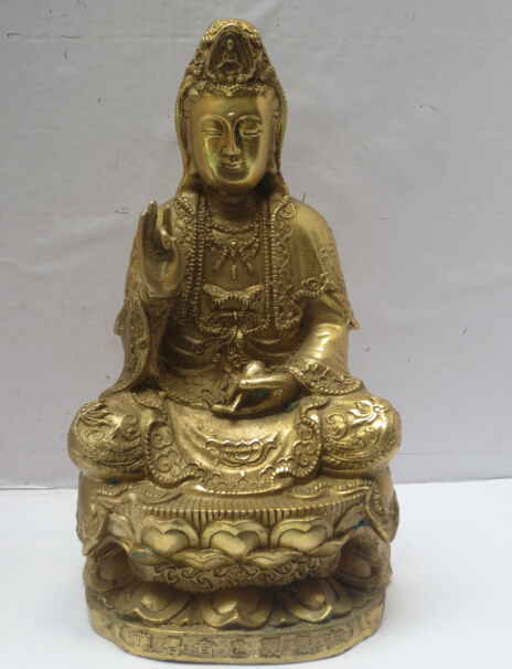High 8 Inch Metal Crafts Art & Collectible Chinese Brass Carved Guanyin Statue/Buddha Sculpture 02