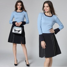 Blue Knitted Sweater Tops And Sexy Split Skirt