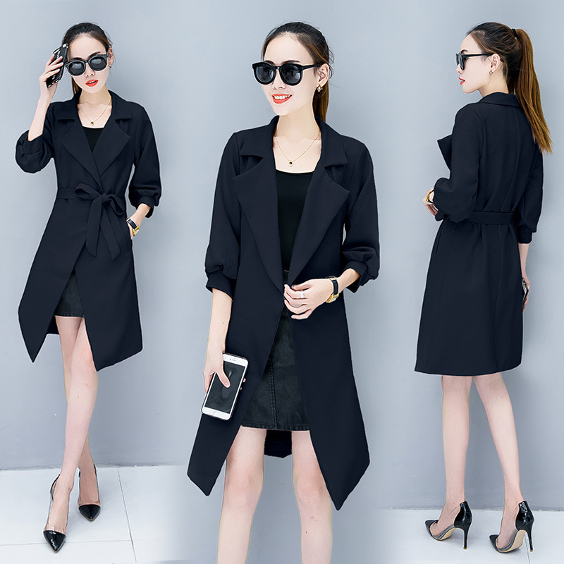 Mid-Long Overcoat Spring And Autumn Dress New Fashionable Thin Waist Lady's Coat