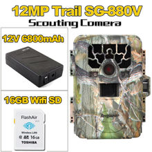 Free shipping!16GB Wifi SD+12MP Infrared IR Digital Trail Game Hunting Camera+6800mAh Battery