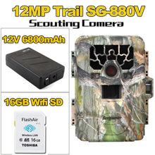 Free shipping!16GB Wifi SD+12MP Infrared IR Digital Trail Game Hunting Camera+6800mAh Battery