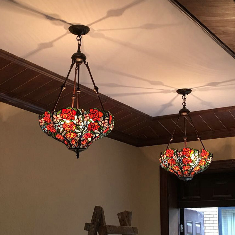 Vintage European Garden Suspension Lamp Classic Creative  Decor Art Stained Glass Pendant Lamp Hotel Living Room Mall Light fumat stained glass lamp european style antique chandelier complex classic living room hotel glass art lamp curtains beads lamp