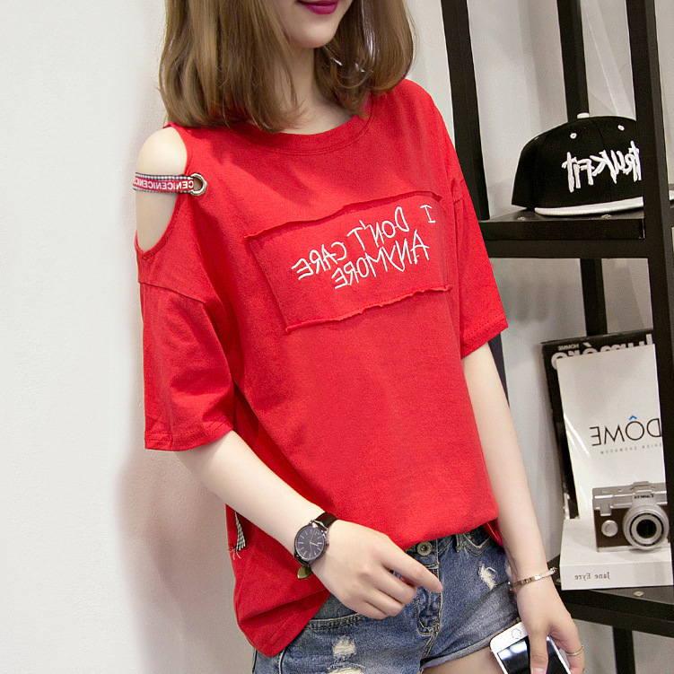 Womens Summer Tops Tee Shirts Casual Half Sleeve Printed Off Shoulder T-shirt 2018 Cotton Tshirt Women Clothes Poleras De Mujer