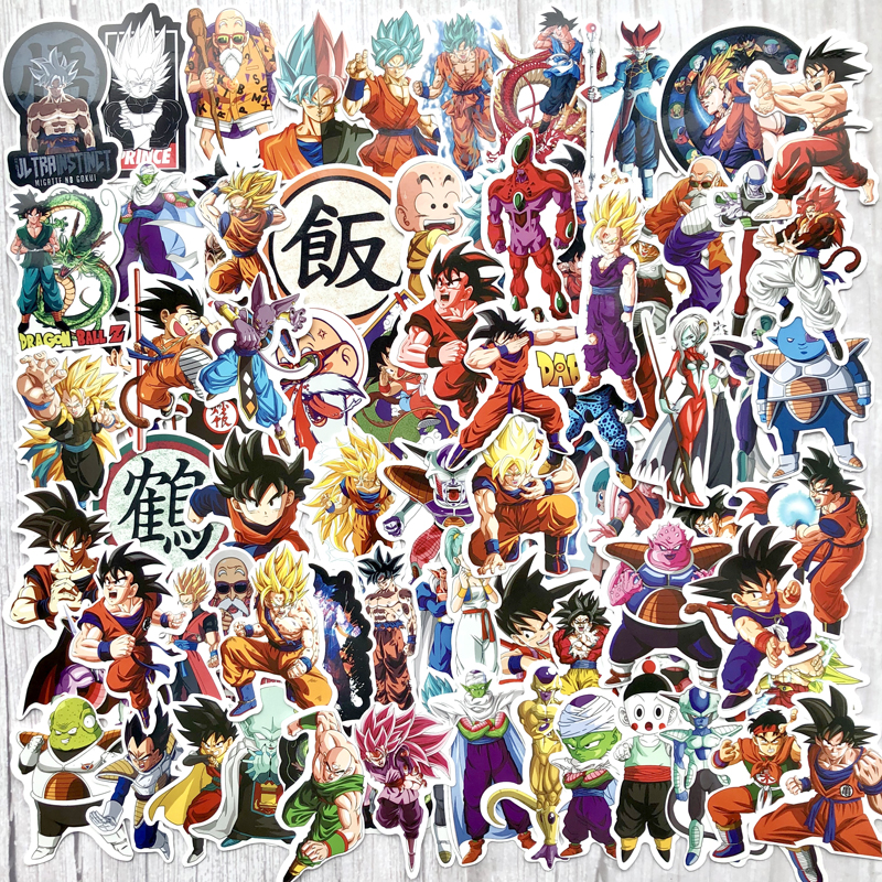100Pcs/lot Anime Dragon Ball Stickers Super Saiyan Goku Stickers Decal For Snowboard Luggage Car Fridge Laptop Moto DIY Sticker