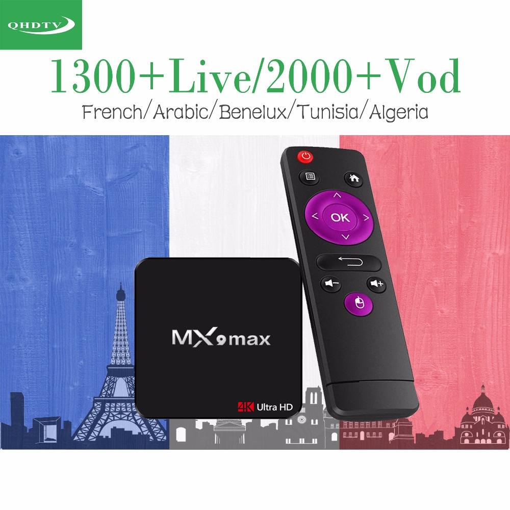MX9 Max Android 7.1 IPTV Box 1 Year QHDTV French Benelux Europe Arabic Channels IPTV for M3U Mag250 H96 X96 Set top Box