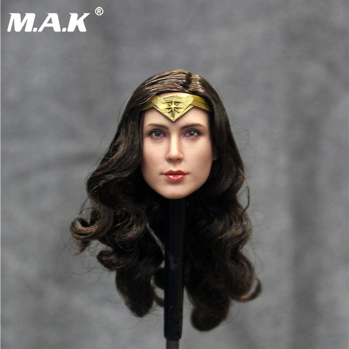 1/6 DR005 Gal Gadot Long Curly Hair Head Model Head Carving F 12 Female Body Toy 1/6 Action Figure Accessories gal hair 100% ght003