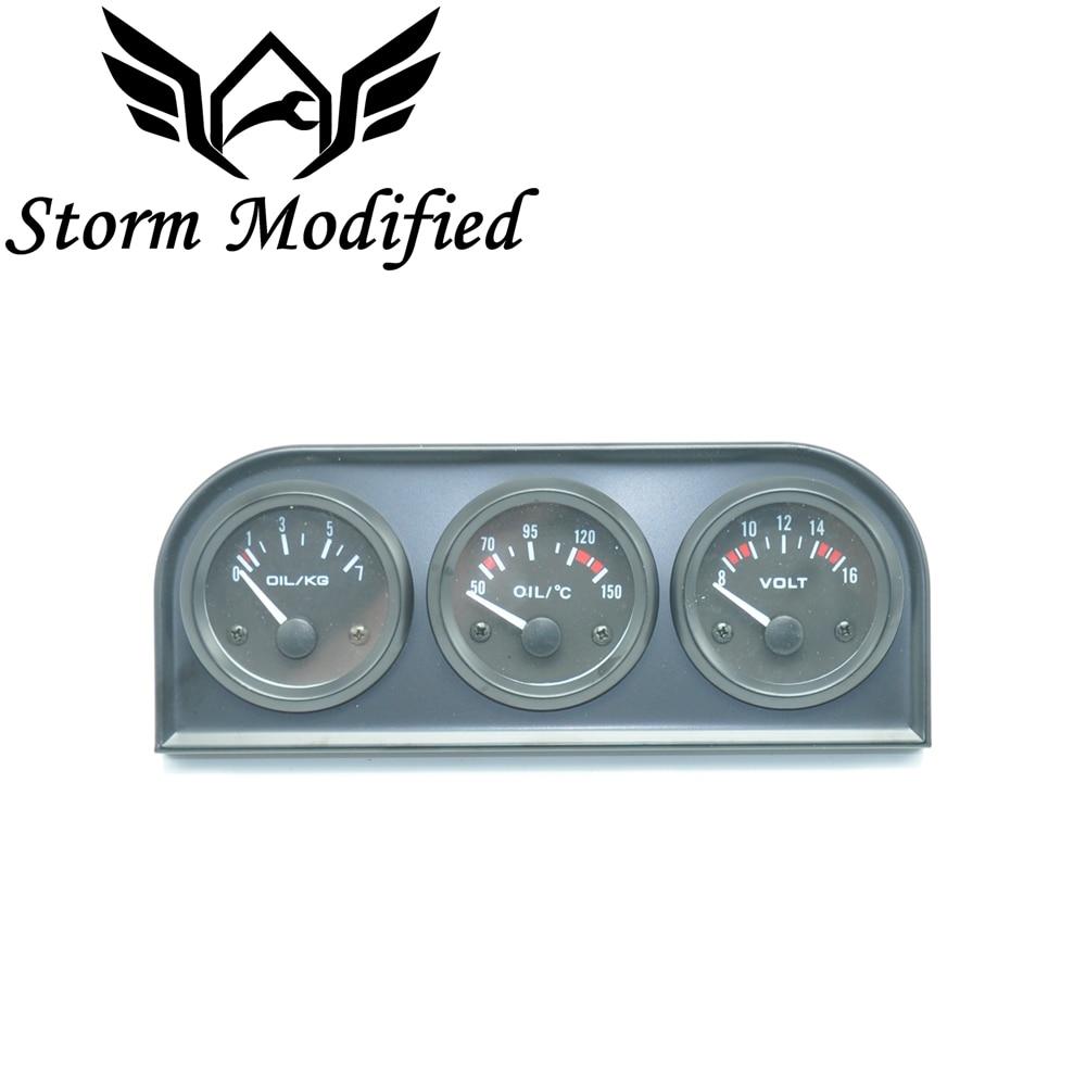 2/'/' 52mm Car Triple Kit Voltmeter oil temperature gauge oil pressure gauge 3in 1