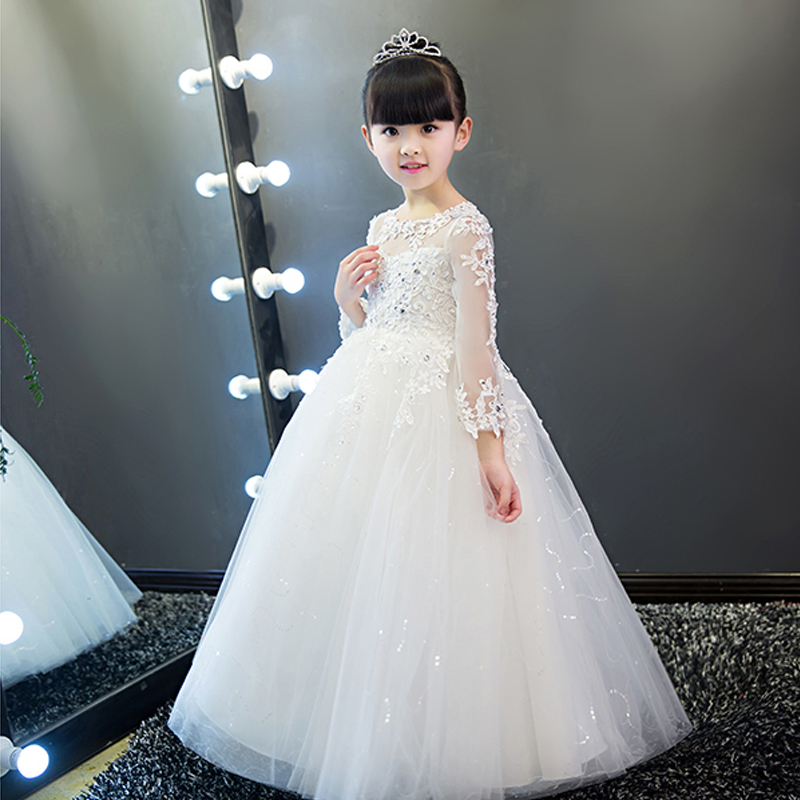 Fashion 2017 Embrodiery Lace Pierced Appliques Baby Girls Dress Elegant Sweet Princess Prom Party Wedding Flower Girls Dress P71 hot sale summer 2017 elegant lace appliques prom party sweet princess kids dress for girls luxury flower girls for wedding p43