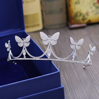 SLBRIDAL Cubic Zircon Butterfly Wedding Tiara CZ Bridal Crown Queen Princess Pageant Party Hair Accessories Women Jewelry