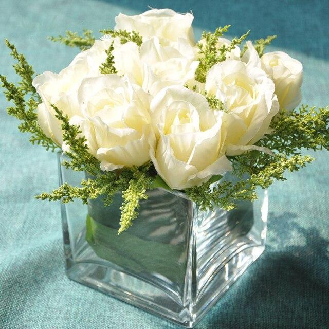 Miz Home 1 Piece Small Head Artificial Rose Glass Transparent Vase Set for Desk Office Top Quality Flower Set