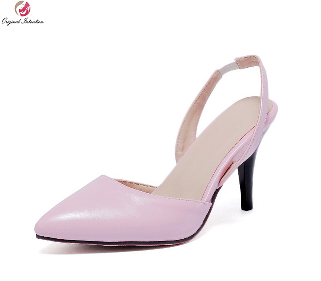 Original Intention Women Sandals Fashion Pointed Toe Thin Heels Sandals  Elegant Black Beige Pink Shoes Woman Plus US Size 4-15 fe6c4d6091