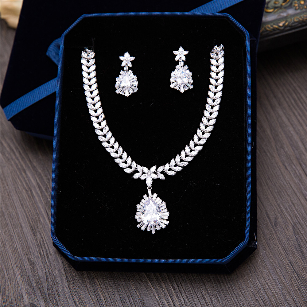 Brillante Cubic Zirconia Women Wedding Jewelry Sets Water Drop Shape Bridal Accessories Necklace Earrings Party Choker Pendant vintage water drop choker necklace for women