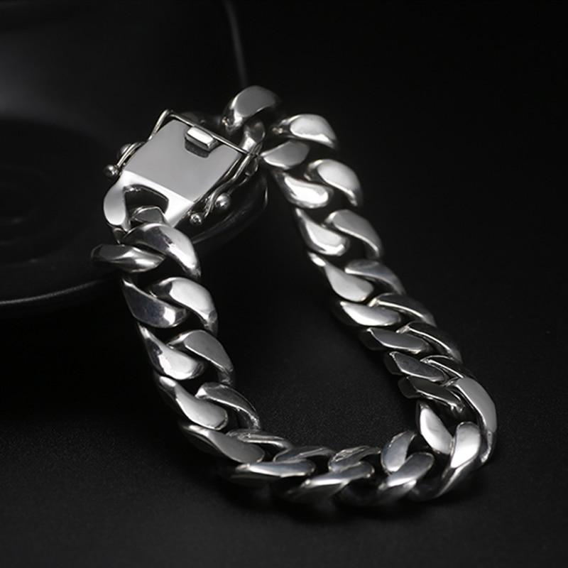 ZABRA, Роскошные браслеты из серебра 925 пробы, для мужчин, высокая полировка, панцирное звено, цепочка, браслет для мужчин, Ретро стиль, панк рок, байкер, мужские ювелирные изделия - 4