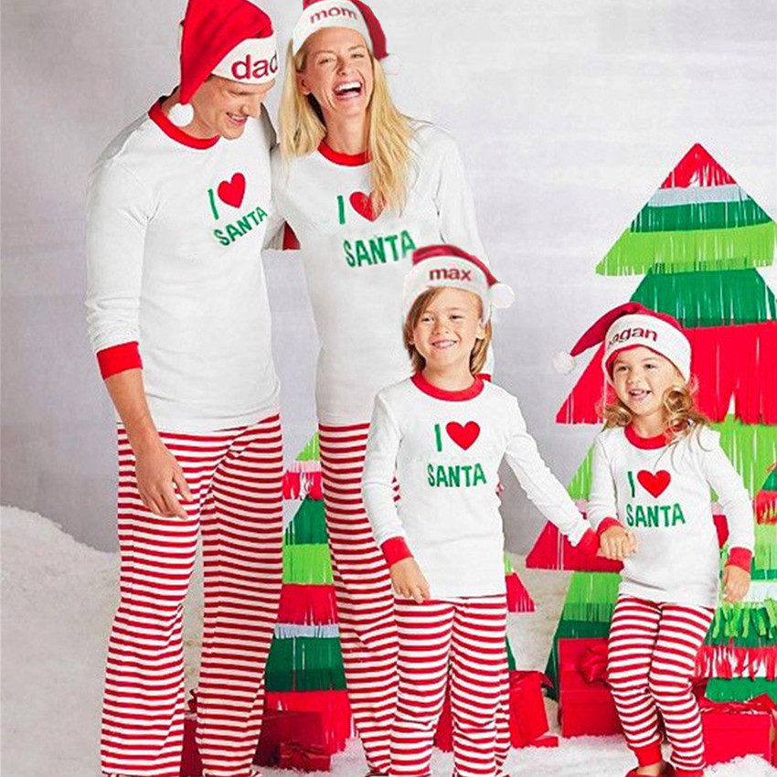 New Christmas Red Heart Family Pajamas Set Dad Mon Kids Winter Sleepwear I Love Santa Parent-child Cotton Pajamas KS10
