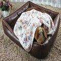 2016 New 40 x 60cm Cute Floral Pet Sleep Warm Paw Print Dog Cat Puppy Fleece Soft Blanket Beds Mat