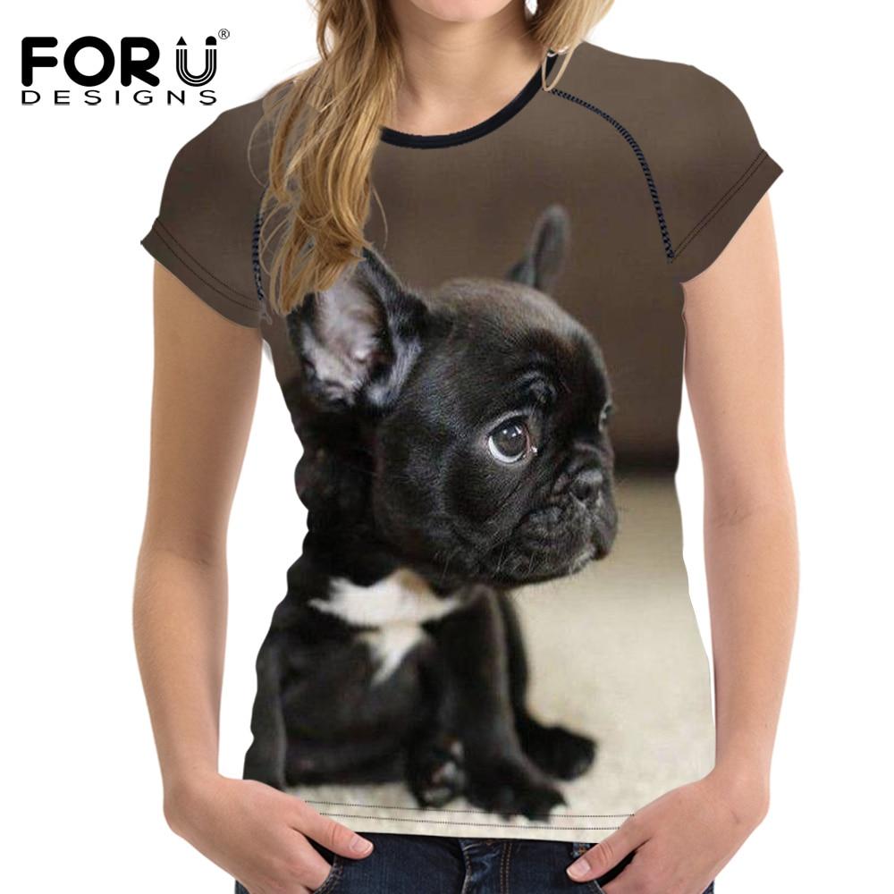 FORUDESIGNS Kawaii BullDog Cetak T Shirt Untuk Wanita Lengan Pendek - Pakaian Wanita