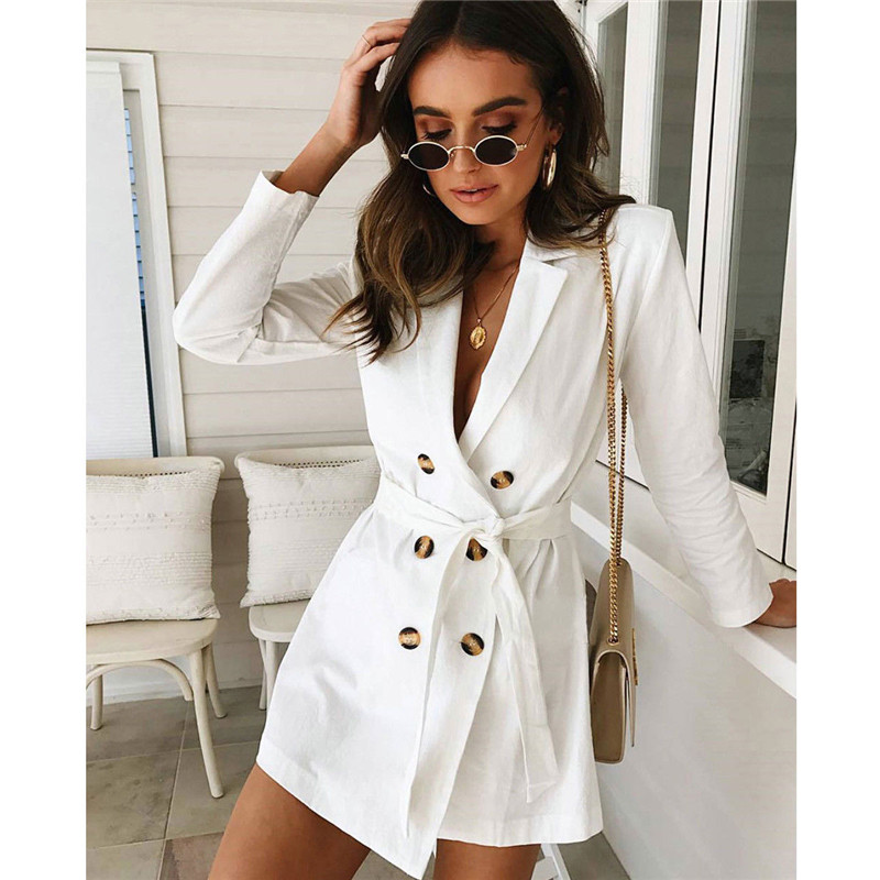 Trendy Women Long Sleeve Button Solid Bandage Overcoat Turn-down Collar Slim Polyester Trench One Pieces