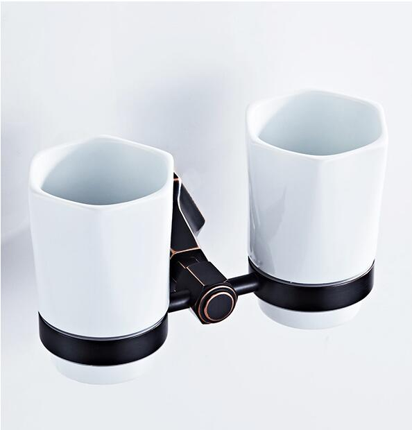 Cup & Tumbler Holders Brass Ceramic Cup Bathroom Accessories Gold Double Cup Chrome Tumbler Holders Black Toothbrush Cup Holder auswind luxury gold solid brass round base toothbrush holder antique plated double tumbler ceramic cup bathroom accessories