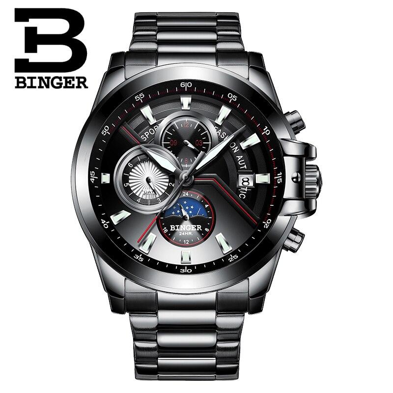 Nieuwe Luxe Merk BINGER Horloges Mannen Automatische mechanische Horloge Fashion week Datum Horloge Reloj Hombre Sport Klok Mannelijke relogio-in Mechanische Horloges van Horloges op  Groep 1