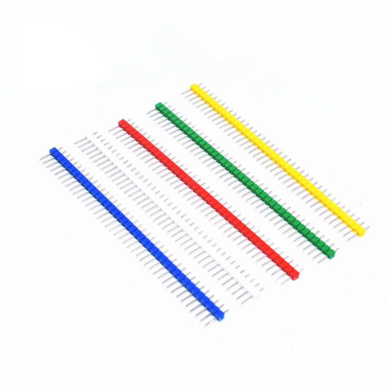 10pcs/lot 2.54mm Green + White + Red + Yellow + Blue Single Row Male 1X40 1*40 Pin Header Strip ...
