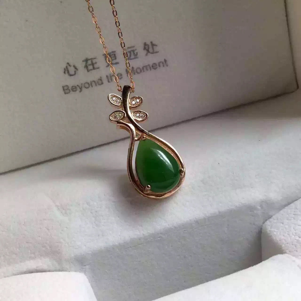 natural green jasper pendant S925 Sterling silver Natural gemstone Pendant Necklace trendy Music Pipa women girl party jewelry
