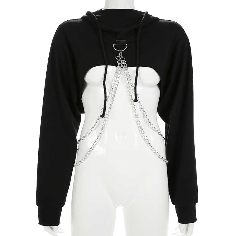 Rockmore Black Crop Oversized Gothic Hoodies Pullovers Women Loose Streetwear Punk Style Long Sleeve Hooded Woman Sweatshirts