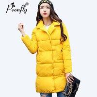 PEONFLY 2017 New Arrivals Parka Women Autumn Winter Jacket Women Cotton Padded Slim Warm Winter Coat