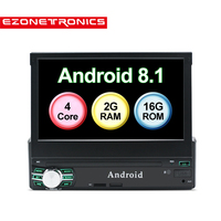 1 Din Car Radio Player Android 8.0 Quad Core 2G+16G GPS Navigation Bluetooth Steering wheel Remote Control Mic WiFi Support DAB+
