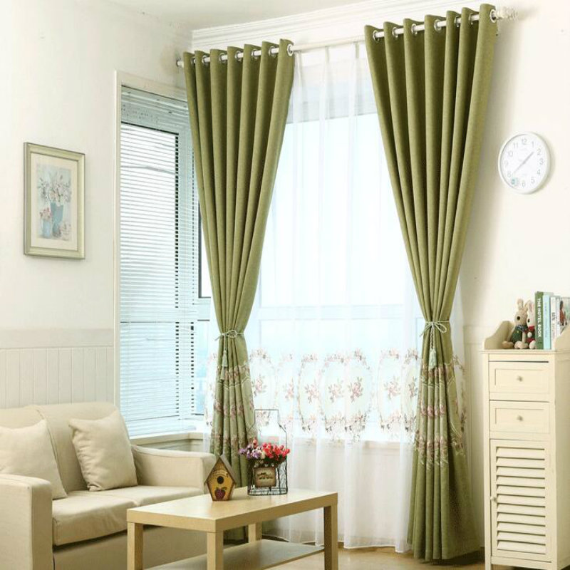 European-style cotton and linen Embroidered curtains, curtains and gauze shade Decoratio ...