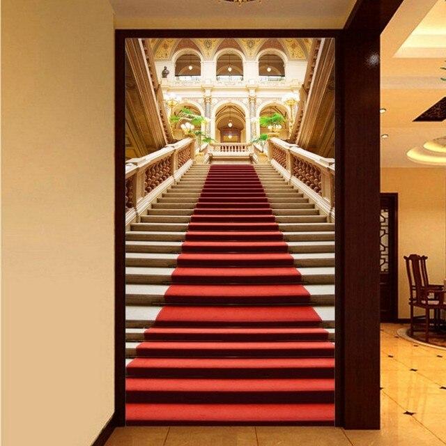 Photo Wallpaper European Staircase Red Carpet Church Stereo Entrance Map Lobby Mural Living Room