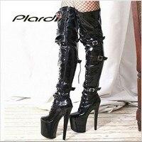 Plardin/Большие размеры 35-46; пикантные узкие сапоги из искусственной кожи с перекрестной шнуровкой на высоком каблуке 20 см и платформе 10 см; сап...