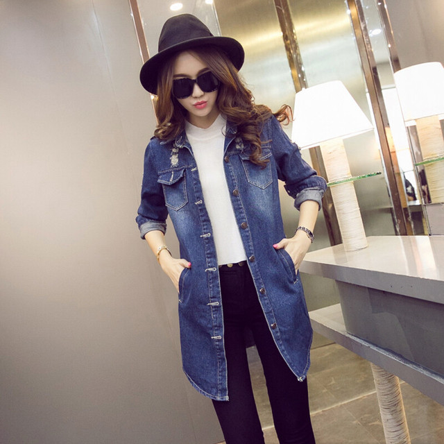 2017 New Fashion Retro Women Denim Trench Coat Outwear Spring Casual Blue Vintage Hole Long Trench Coat Windbreaker Plus Size