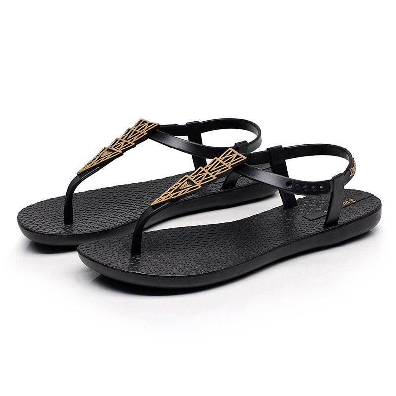 2018 Nuove Donne Dei Sandali Di Flip Flop Di Estate Femminile Scarpe Tacco Piatto Morbido Suola Anti-slittamento Di Stile Di Roma Sandali Da Spiaggia Nero Marrone 35-40 #