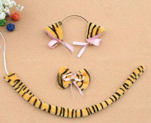Повязка на голову с ушками neko в виде животных, белого, черного цвета, кота, тигра, аниме, хвоста 60 см, плюшевые перчатки, рождественские, пасхальные, вечерние, для взрослых и детей - Цвет: style 4