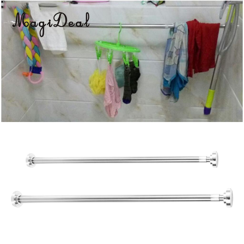 MagiDeal Metal Telescopic Shower Curtain Rail Rods Extendable Curtain Poles Clothes Hanging Rack, Easy Fit No Need Drilling