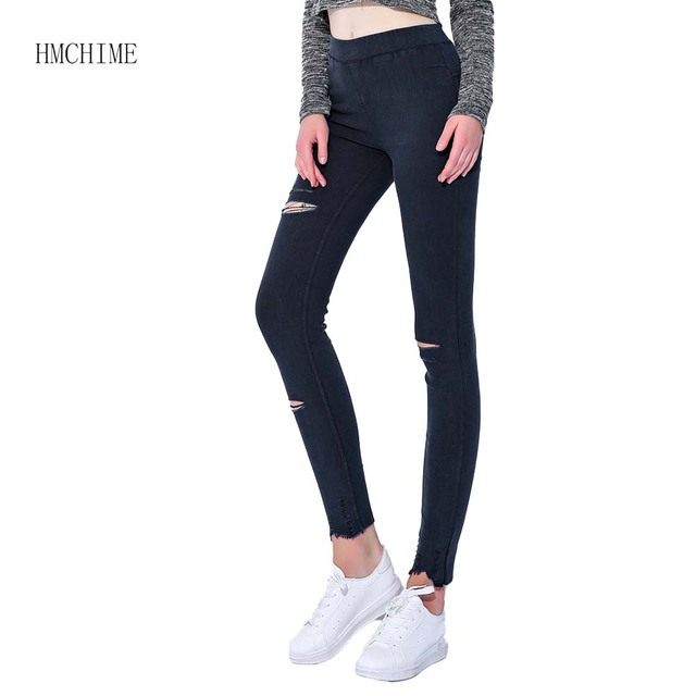 80104cbf4f913d High elastic women jean leggings with hole at knee plus size M-5XL package  hip ladies pants slim trousers stretch bottom ZB-D033