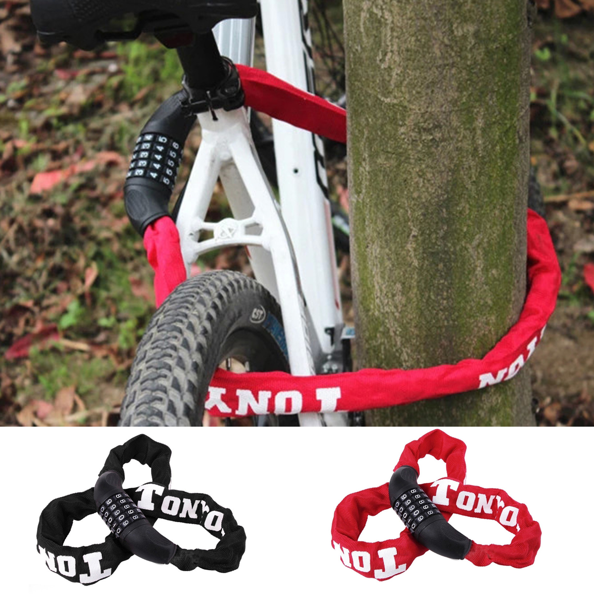 Bike Bicycle Cycle Chain Lock Security PadLock Alloy Steel Safety Outdoor 5 Key